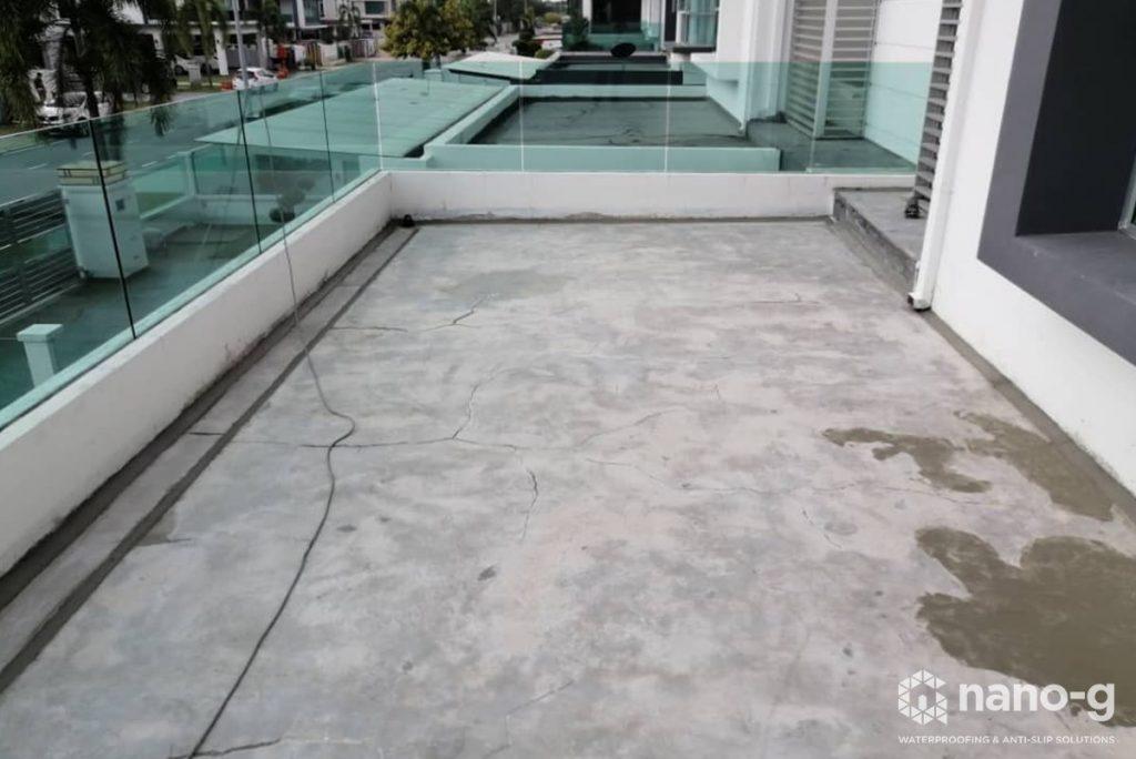 Nano-G cracked concrete slab waterproofing.