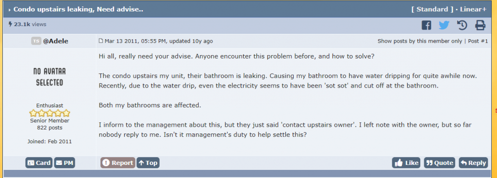 Adele from Lowyat posted a question about how her upstairs neighbour's bathroom is causing a water leakage problem
