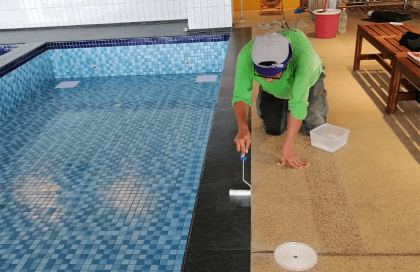 Nano-G Service Team Finishing Up Anti-Slip Services For Aquabubs Swim School